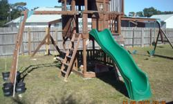 Extended out longer for extra swings. Slide, and bars. Rock wall. Has see saw as well. its about 1 year old cash only call pr text me at