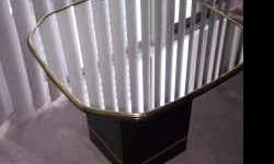 """Tables Mirror Top End / Side Tables with Black Base Mirror Top Tables set of 2 for end or side tables. Black with gold and Mirror Top. Table Top is 2ft'x2ft' and 20"""" in height."""