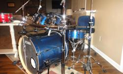 Here is a Tama Superstar hyper-drive 5pc drum set in perfect condition. I purchased these new in 2014 and they have never been moved since. The sizes are, 22 x 18, 10 x 6 1/2, 12 x 7, 16 x 14 and a matching 5 1/2 x 14 snare. All shells are 100%