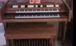 THE CONN RHAPSODY ORGAN ANTIQUE ORGAN AND MATCHING BENCH 25 FOOT PEDALS, MAPLE FINISH MINT CONDITION! SERIAL NUMBER #662435 MODEL : 626 STYLE : 001 TYPE : 002 CYCLES : 060 115 VOLTS - 270 WATTS MAXIMUM LINE POWER TO SPEARKS 6 AMPS ALSO ON EBAY Item