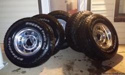 4 Rims an Tires an 1 spare rim an tire. Tires are Bfgoodrich Rugged Trails LT 265/75 R 16. Almost brand new. Rims are 8 lug, 3140 oem, 16�7k dot-t. Leave a message if no answer.