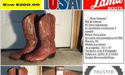 """Vendo botas vaqueras Marca Tony lama, color cafe claro,medida #6 (por dentro de la bota mide 10-1/4"""")piel de caiman(alligator) en excelentes condiciones (sin raspones)nuevas costaron $615.00us ahora pido $200.00 us estoy anexando fotoabajo del add."""