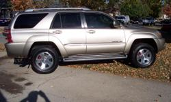 2003 toyota 4-runner. 102500 miles. Gold exterior with tan leather interior. Sun roof, tow package, new goodyear all weather tires, new magna flow stainless steel exhaust, new brakes , new floor matts, new husky rubber matt in rear, new dvd player with