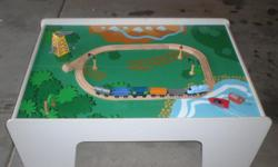 Train Table with Tracks and Trains it comes with stop signs and light posts and other signs. Over 120 pieces. Picture is just of small train track to give you an idea of the train track.