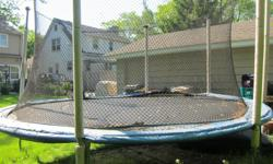 Trampoline for sale for $50.00.Includesnet and all parts. Needspadding for edges. Already dis-assembled and ready to pick up. My daughter hasoutgrown it. Easy to assemble. Originally $450.00.