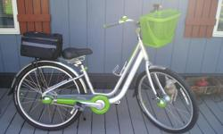 Bike like new, maybe 15miles total. A lot of extra's, basket, taillights, headlight, cup holder, duffle bag, mirror, speedometer, due to leg problem got a scooter where no peddling was necessary. Due to the newness of this bike the price is firm The bike