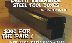 Delta Innerside Tool Boxes (2each) Steel Boxes color is Metallic Black $200 for both (New List Price from Delta is $800 for a pair) Please Do Not Email me, as I will not respond If You Are Interested in this item please call 916-317-8837 for further