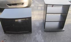 Here we have a TV Stand and Entertainment holder. Both are in good condition, no visible scratches to speak of - good for spare room/teen room - over $200 invested in both - sold together.  **PICK UP ONLY**