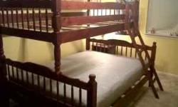New solid oak wood bunk bed set without mattress in a cherry finish for $300.00. Beds are new in the original factory boxes and look just like the attached pictures. Bunk bed sets are left over from todays designers orders. I only have two sets left.