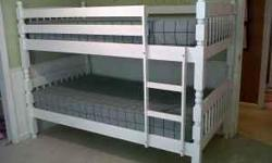 I have one new white set of bunk beds with new mattress for $300.00 set was left over from a special order. Beds can separate into two matching twin beds. Price is firm. Delivery available for $30.00. Call or text me at 678-979-7046