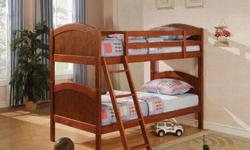 New solid wood twin over twin bunk bed set WITH Mattress in factory box I have 2 cappuccino and 1 oak sets left for $450.00 each set. Beds are 64 inches tall when stacked, 80 inches long and 42 inches wide. Beds can separate into two twin beds. Bunk Bed