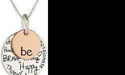 """Product Details ?Amazon Sales Rank: #84 in Jewelry ?Brand: Amazon Curated Collection ?Model: 431386 Features ?Two-tone necklace with """"be"""" engraved on one charm and """"Kind, Free, True, Brave, Strong, Happy, Thankful, Compassionate"""" engraved on the other"""
