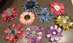 Hair bows can be used for purses, corsages, hair for all ages, or decorate a gift bag. Handmade by my daughter. Good quality material, using old buttons and jewerly. Lots of different colors available, small and large sizes. Can find us on facebook,