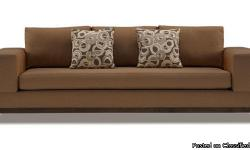 """New Modern wide-arm 90""""inch modern Sofa with accent pillows and ebony wood trim on bottom. Chrome legs accent this bench-made sofa and tailored fabric complete its distinguished look. Matching chair also available. Perferct for a timeless"""