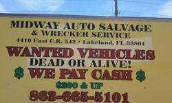 USED AUTO PARTS WITH LIFETIME WARRANTY ON ALTERNATORS BATTERIES STARTERS RADIATORS AND MORE.WE INSTALL WHAT WE SELL.CALL MIDWAY AUTO SALVAGE AT 863-665-5101