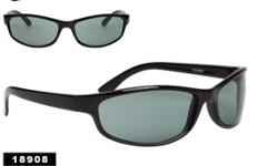 Unisex UV wraparound style sunglasses. Black plastic frame. Dark lens. Free shipping USA