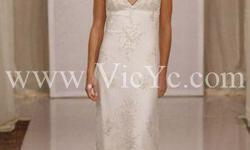 Dresses was $167.99 and now is $139.99 Petite sheath silhouette with zip back closure. Stunning lace bridal dress enjoys plunging V neckline with flattering lace-covering bodice. Ravishing skirt adorning opulent embellishments cascades down to the ground