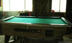 VALLEY POOL TABLE (The kind you see in clubs) good condition will last for years and years. Slate in great shape. comes with balls and sticks. Sticks need new felt. Need sold before the 18th. After that if still here, Price will go up.