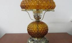 """From an Estate. 19"""" TALL, BASE IS 7"""" WIDE on each side, TOP Globe is 10"""" WIDE on each side, BOTTOM Globe is 6.5"""" WIDE on each side. Beautiful warm Gold/Bronze color glow. Comes with additional frosted hurricane covers. By"""