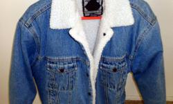 VINTAGE ANCHOR BLUE DENIM LINED JACKET Men's Small Like New Condition and very clean...no tears, no rips, all original logo snaps, complete! $90.00 This short length denim jacket features: Five metal snaps up front with engraved logo hardware Inside
