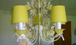 Hanging chandeleir for dining room or nook areas. Beautiful details of roses & vines in creamy yellow & cream colors. Option too included in price is ceiling mount light. Items in Anaheim.
