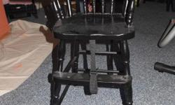 Black Vintage High Chair-Has safety straps and pad-Would also be nice for dolls etc