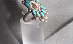 Vintage Sterling Silver Turquoise Coral Native American Ring This is a wonderful jewelry artifact of Native American Workmanship. It is handmade, one of a kind and vintage 1940-1960. It is unsigned, Handmade in America. The use of custom cut blue