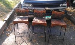 wrought iron bar stools with aztec design wicker seats