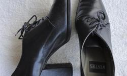 Originally $35 +/- Womens black leather laced oxfords with heels. Barely worn. No tears or scratches. Size 7.5 Will negotiate.