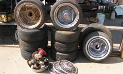 I have two sets of used spoke wheels 4 ea 205/40ZR17 4 ea 205/45R16 two sets of knock offs extra wheel extra tire and three cadilac hub caps. NO WARRANTY OR GUARANTEE. AS IS -- $200.00 obo Jim.