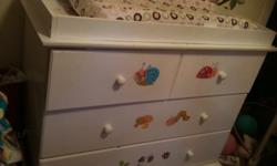 White changing table / dresser for sale $30. OBO.. Bought at K-mart paid around $200, we got something else. Changing table is in good shape, the drawer on the bottom is broken/cracked on the side. While cleaning out child steped in the drawer. Looks like