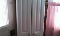 """white kitchen cabinet 71 1/4"""" highx 18"""" wide x15 1/2' deep( in good conition ) 5 shelves"""