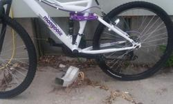 Purple and white Mongoose Ledge 2.1. Purchaed $40 memory foam seat. Rode only a few times. Like New.