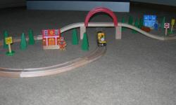 I am selling a Brio wooden, figure 8, train track. It also includes a Thomas and Friends train, Duncan, and lots of extras. The Brio track fits into Thomas tracks or any other wooden train track. It is in very good condition. Selling for $50.00 or best