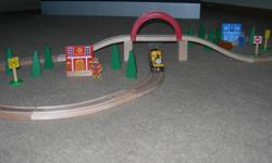 I am selling a Brio wooden, figure 8, train track. It also includes a Thomas and Friends train, Duncan, and lots of extras. The Brio track fits into Thomas tracks or any other wooden train track. It is in very good condition. Selling for $50.00 or