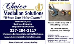 WORKERS COMP CLAIMS  CAN BE SETTLED IN MEDIATION. CONTACT CHOICE MEDIATION SOLUTIONS TODAY SETTLE NOW RESOLVE NOW GET CLOSURE NOW NO MORE WAITING  OVER 95 % OF CLAIMS AND COURT CASES SETTLE BEFORE GOING TO COURT OR WHEN YOU GET TO COURT.