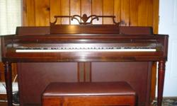Wurlitzer Upright/Console Piano for Sale, excellent condition, bench/storage included, cherry wood, sounds great, a great investment for the piano student, the piano teacher, the special someone, no need to buy an expensive new one, save your hard-earned