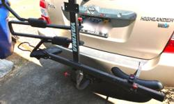 """Yakima Stick Up2 bike rack for 2"""" or 1 1/4""""hitches. New cost $250.00, excellent condition. Used very little. Extremely secure, outstanding performance. Easy to load/unload. Hitch load limit 45 lb per bike. Folds up when not"""