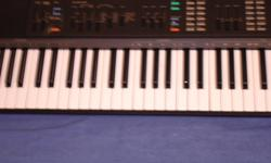 66 full size keys. Controls for instrument sounds (e.g. organ, brass, piano, strings, metal etc.); also controls for various rhythms (e.g. rumba,swing, rock, disco, etc.). Also various percussion keys. Ports for (2)additional external speakers, and port