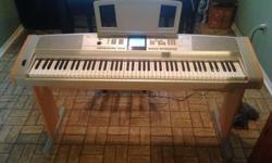 Gently used Yamaha Portable Grand in great condition. Two minor flaws (see images). Includes power cable, sustain pedal, and attachable music stand. Also comes with keyboard stand although the screws to secure the piano to the stand have been replaced.