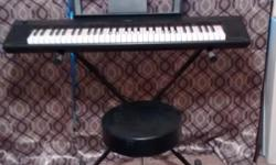 I am selling my Yamaha keyboard. It is in excellent condition! I am including with the keyboard a sustain pedal, AC power cord, stand and stool. First 150.00 takes it all! Yamaha NP11 Portable Digital Stage Piano Features: ? An amazing portable digital