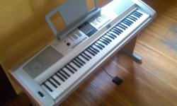 Top of the line. True piano sound plus instrument voices. Comes with wooden side panels, matching wooden stand and sustain pedal. 88 piano-style keys. SmartMedia storage. USB connectivity. Power adapter and cord. User Manual. Please cash only with