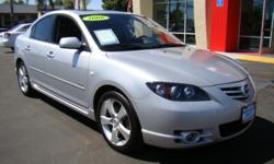 Mazda's have been rapidly becoming one of America's most poopular Japanese cars with their sporty looks, capable engines, and creature comforts! This particular 'S' comes packed to the brim with black leather heated seats, Bose sound system, steering